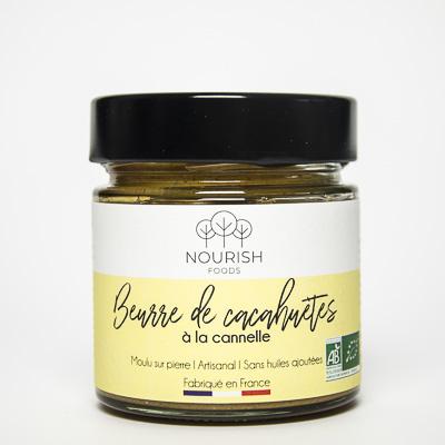 Nourish Foods, Beurre de cacahuètes à la cannelle Bio Artisanal, sans huiles ajoutées, sans huile de palme, sans conversateurs, sans sucres raffinés